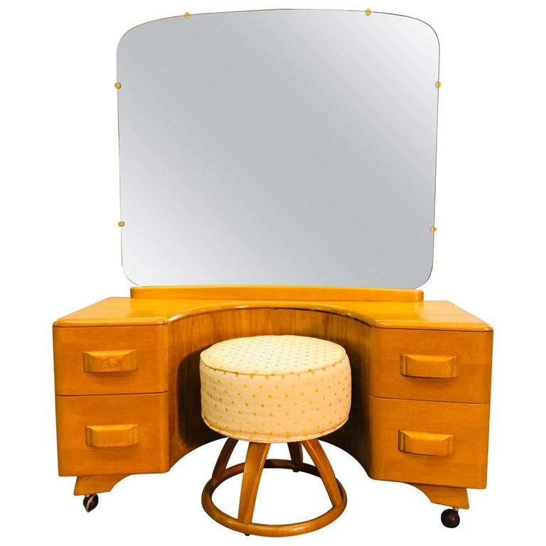 Heywood Wakefield Vanity and Mirror with Stool Set