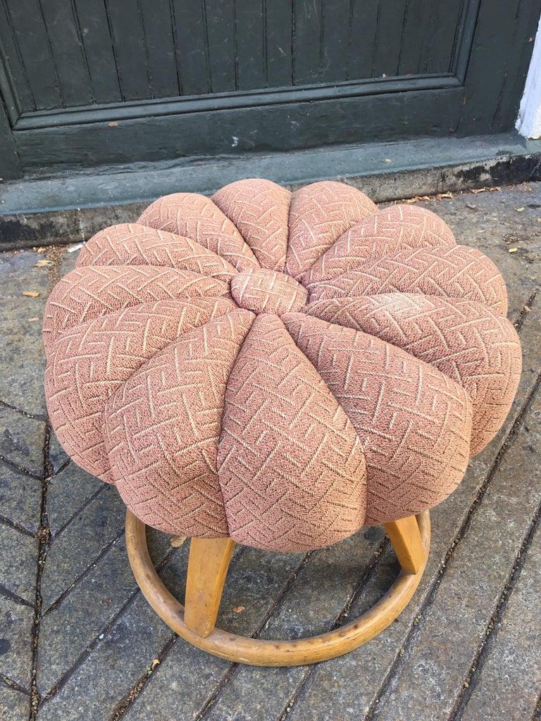 Upholstery Heywood Wakefield Vanity Stool/ Poof For Sale