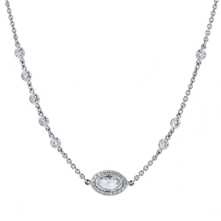 4.98 carats of Bezel set Diamonds by The Yard in 18 karat White Gold Necklace  This is a one of a kind, original, handmade by H&H Jewels.    This necklace is 18 karat white gold featuring flipping stations of 4.98 carats in total weight of rose cut