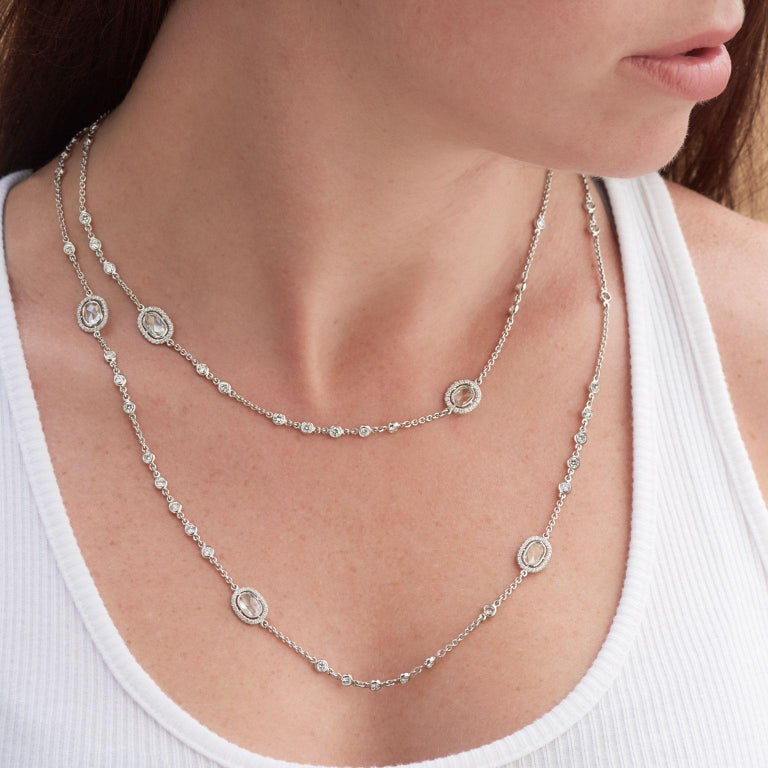 4.98 carats of Bezel set Diamonds by The Yard in 18 karat White Gold Necklace In New Condition For Sale In Miami, FL