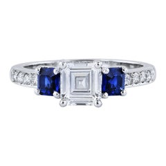 H&H GIA Cert 1.02 Carat Square Emerald Cut Diamond Ring 2 Assher Blue Sapphires