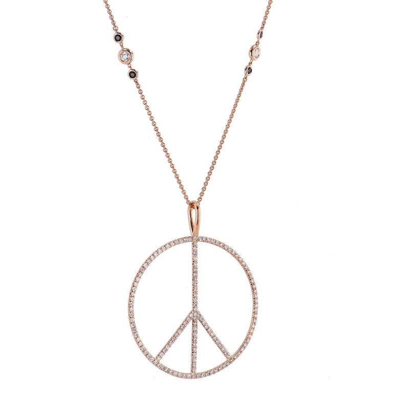 H&H Handmade 2.63 Total Carat Diamond Peace Sign Pendant made of 18 karat Rose Gold   This is a one of a kind piece.   Adorned with 2.63 carats in total weight of pave set diamonds (G/H SI2).   Measures 2 1/8 inches across.     Necklace chain sold