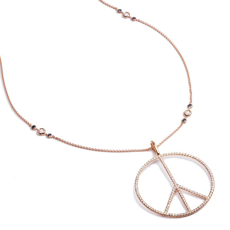 H&H Handmade 2.63 Carat Diamond Peace Sign Pendant made of 18 karat Rose Gold  In New Condition For Sale In Miami, FL