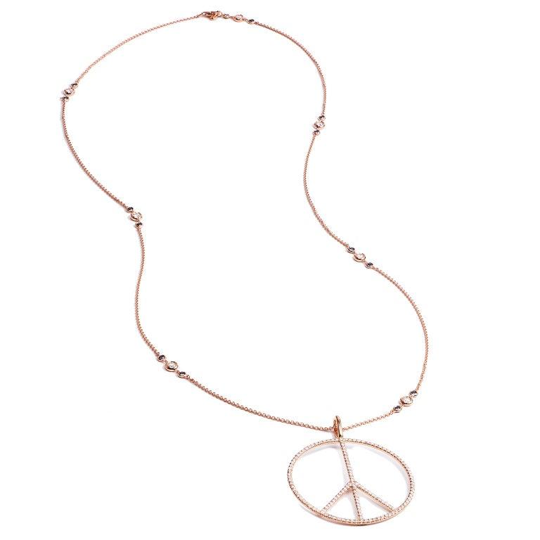 Women's H&H Handmade 2.63 Carat Diamond Peace Sign Pendant made of 18 karat Rose Gold  For Sale