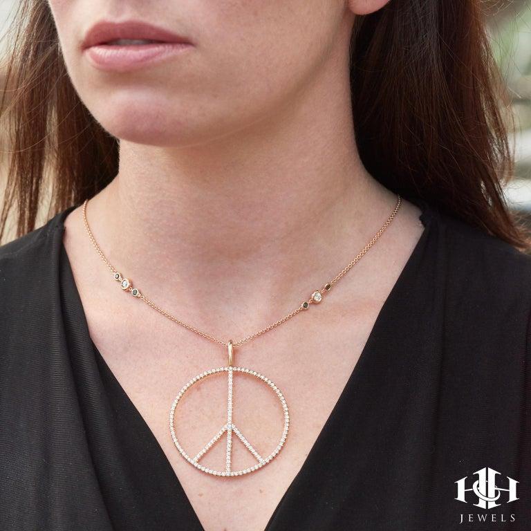 H&H Handmade 2.63 Carat Diamond Peace Sign Pendant made of 18 karat Rose Gold  For Sale 1