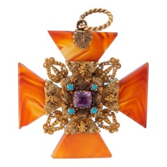 Hi-Caret Carnelian, Amethyst and Persian Turquoise Maltese Cross Pendant Charm