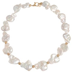 Hi June Parker 14 Karat Gold Keshi Pearl Statement Necklace