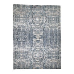 Hi-Low Pile Abstract Design Wool and Silk Hand Knotted Oriental Rug