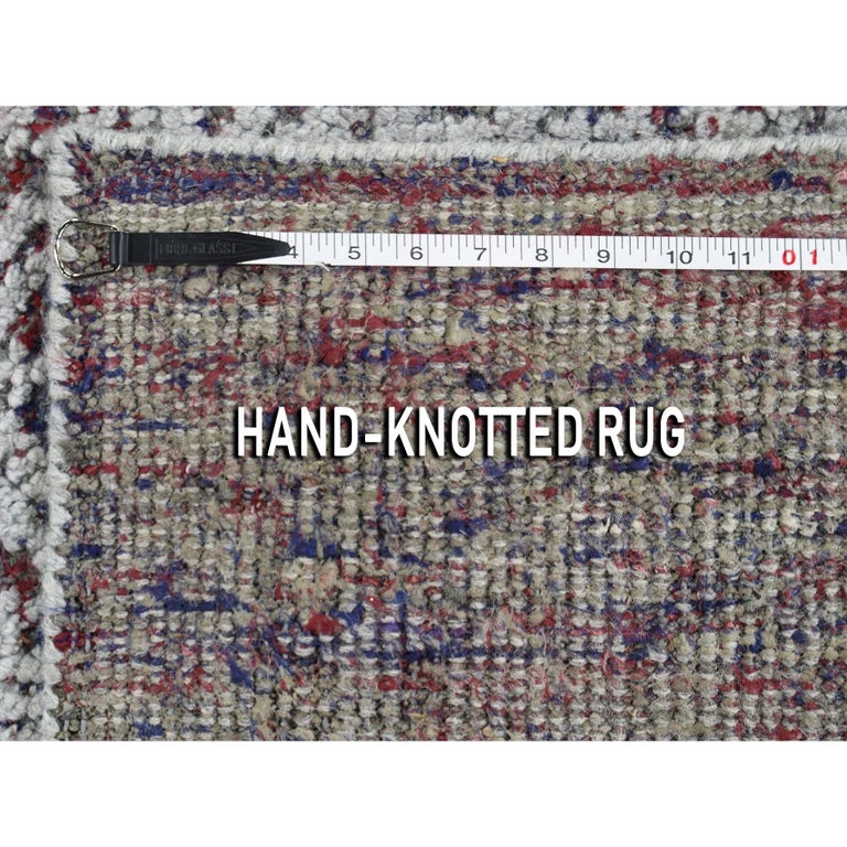 Hi-Low Pile Oxidized Wool Khotan Design Hand Knotted Oriental Rug For Sale 6