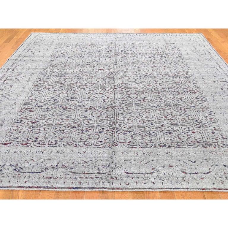 Afghan Hi-Low Pile Oxidized Wool Khotan Design Hand Knotted Oriental Rug For Sale
