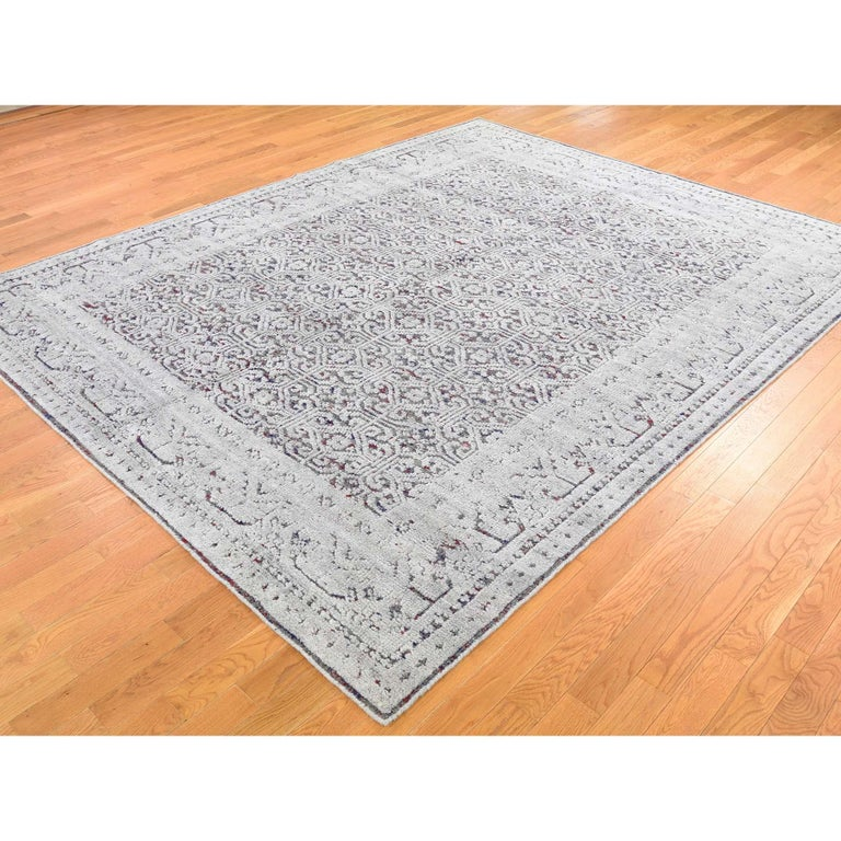 Hand-Knotted Hi-Low Pile Oxidized Wool Khotan Design Hand Knotted Oriental Rug For Sale