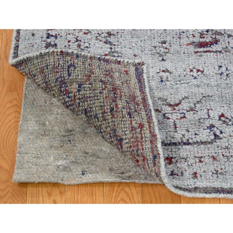 Hi-Low Pile Oxidized Wool Khotan Design Hand Knotted Oriental Rug In New Condition For Sale In Carlstadt, NJ