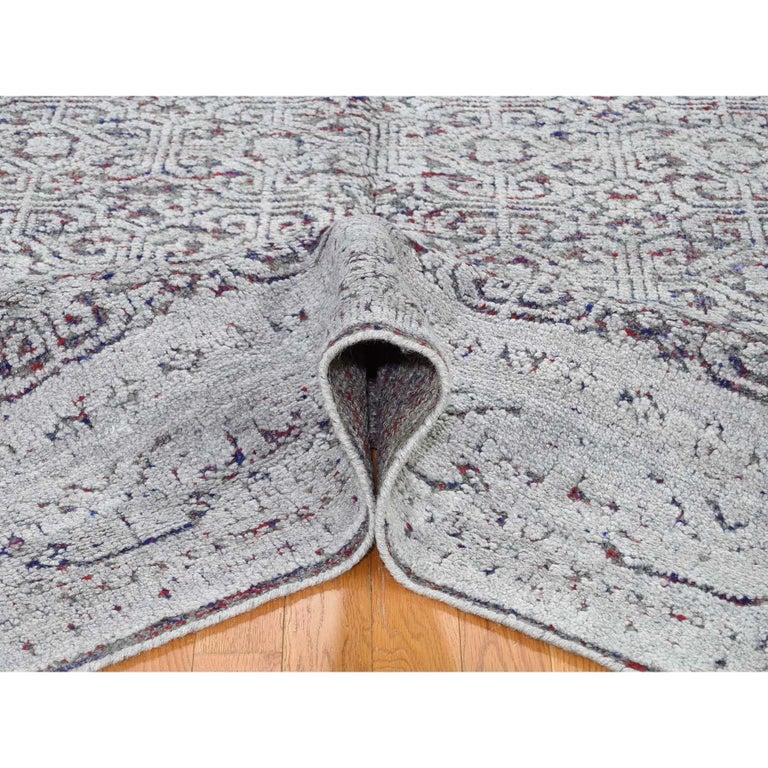 Contemporary Hi-Low Pile Oxidized Wool Khotan Design Hand Knotted Oriental Rug For Sale