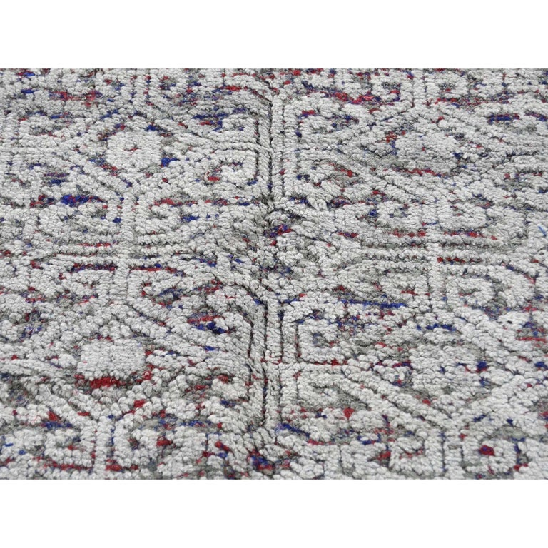 Hi-Low Pile Oxidized Wool Khotan Design Hand Knotted Oriental Rug For Sale 3