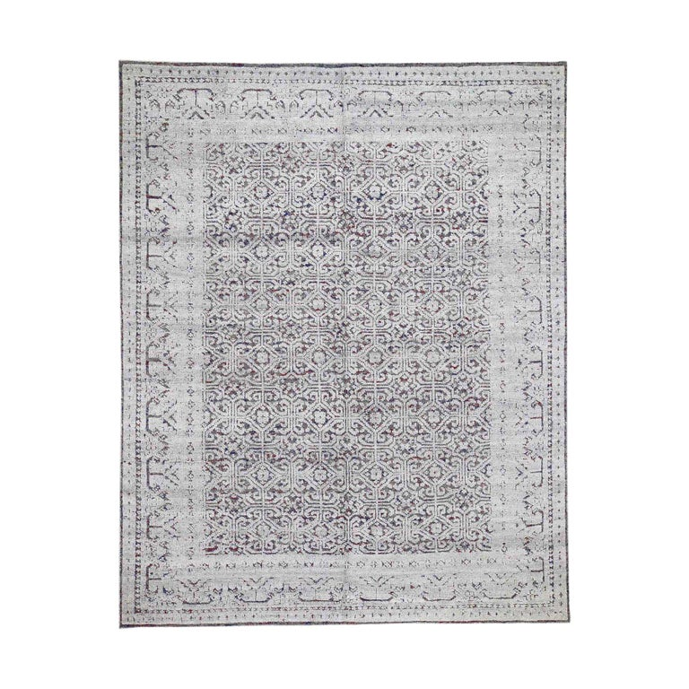 Hi-Low Pile Oxidized Wool Khotan Design Hand Knotted Oriental Rug For Sale