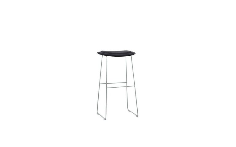 Italian Hi Pad Stool in Fabric or Leather with Metal Leg, Jasper Morrison for Cappellini For Sale