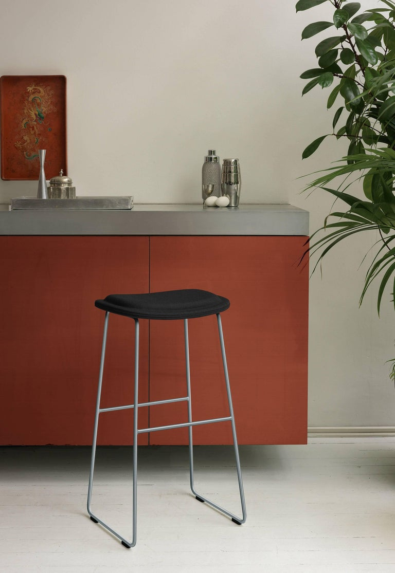 Hi Pad Stool in Fabric or Leather with Metal Leg, Jasper Morrison for Cappellini In New Condition For Sale In Rhinebeck, NY