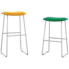 Hi Pad Stool in Fabric or Leather with Metal Leg, Jasper Morrison for Cappellini