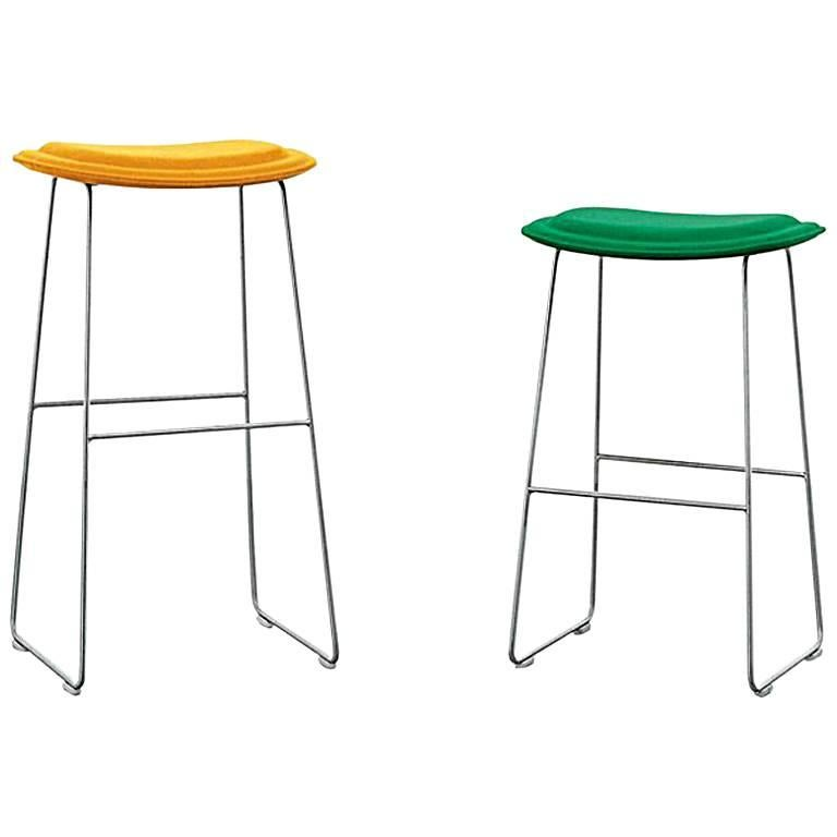 Hi Pad Stool in Fabric or Leather with Metal Leg, Jasper Morrison for Cappellini For Sale
