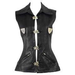 Hi Tek 1990s Vintage Black Leather Metal Plates & Buckles Women's Leather Vest
