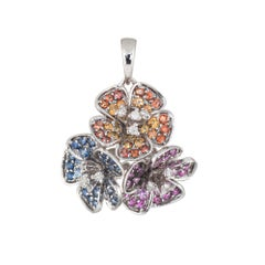 Hibiscus Flower Pendant Estate 14 Karat White Gold Sapphire Ruby Citrine Jewelry