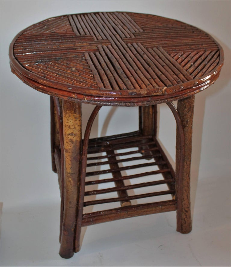 American Hickory & Birch Bark Adirondack Side Table For Sale