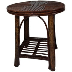 Hickory & Birch Bark Adirondack Side Table