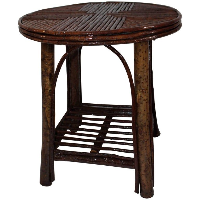 Hickory & Birch Bark Adirondack Side Table For Sale