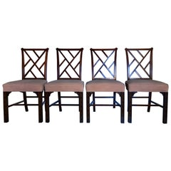 Hickory Chair Chippendale Chinoiserie Fretwork Side Chairs, Set of Four