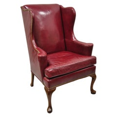 Hickory Chair Co Burgundy Red Leather Queen Anne Georgian Wingback Lounge Chair