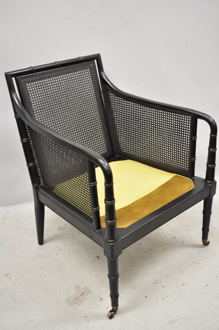 Hickory Chair Co Campaign Ebonized Regency Faux Bamboo Leather Armchair Ottoman 5
