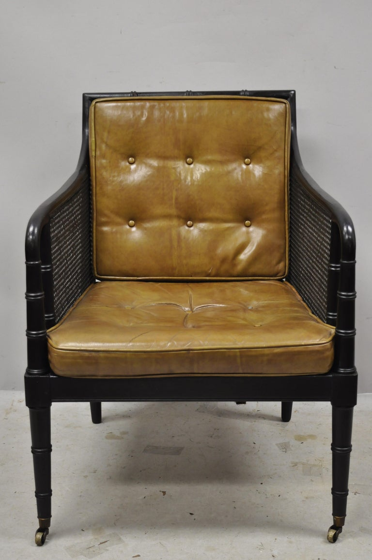 Chinese Chippendale Hickory Chair Co Campaign Ebonized Regency Faux Bamboo Leather Armchair Ottoman