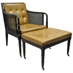 Hickory Chair Co Campaign Ebonized Regency Faux Bamboo Leather Armchair Ottoman