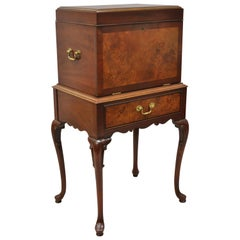 Hickory Chair Co. Mahogany and Burl Wood Queen Anne Silverware Silver Chest