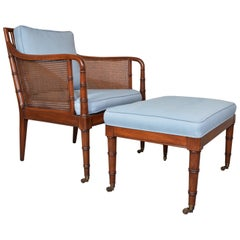 Hickory Chair & Ottoman Regency Style Faux Bamboo Caned Chair on Brass Casters