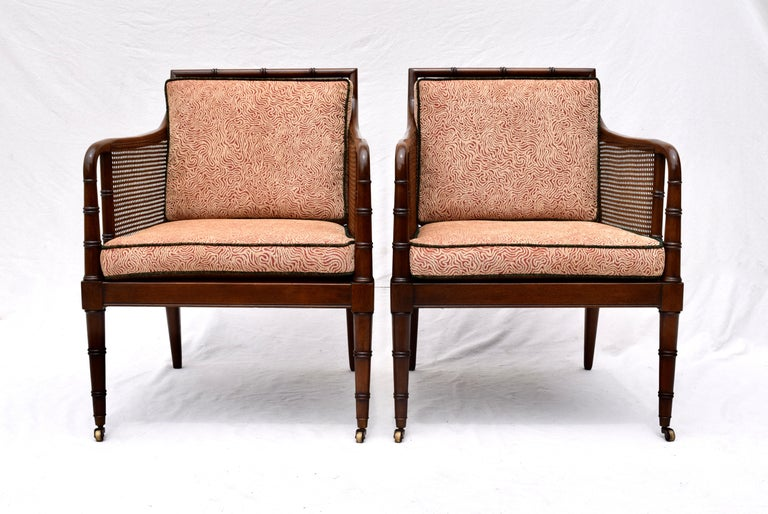 American Hickory Chair Regency Style Faux Bamboo Caned Chairs on Brass Casters, Pair