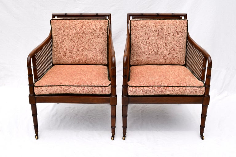 Hickory Chair Regency Style Faux Bamboo Caned Chairs on Brass Casters, Pair In Excellent Condition In Southampton, NJ