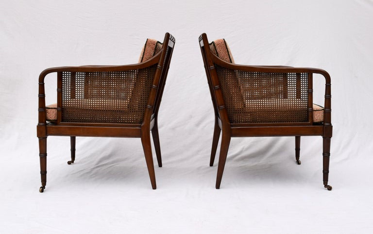Mid-20th Century Hickory Chair Regency Style Faux Bamboo Caned Chairs on Brass Casters, Pair
