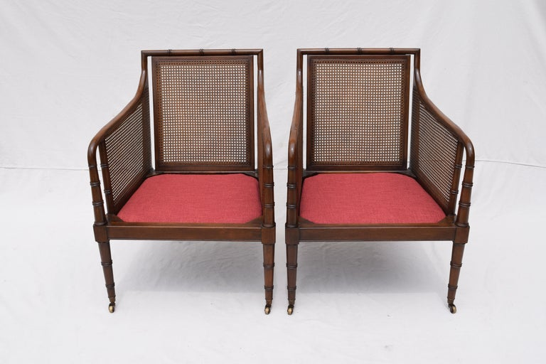 Hickory Chair Regency Style Faux Bamboo Caned Chairs on Brass Casters, Pair 1