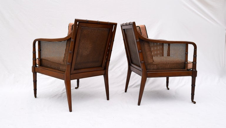 Hickory Chair Regency Style Faux Bamboo Caned Chairs on Brass Casters, Pair 2