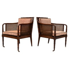 Hickory Chair Regency Style Faux Bamboo Caned Chairs on Brass Casters, Pair
