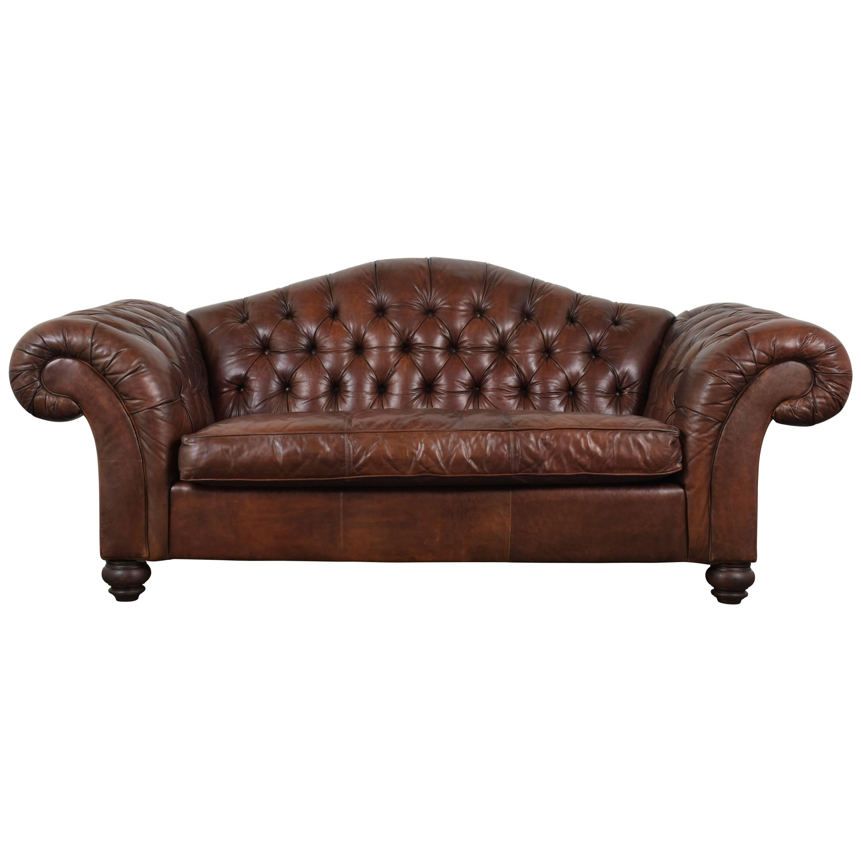 Charmant Hickory Chesterfield Tufted Leather Sofa