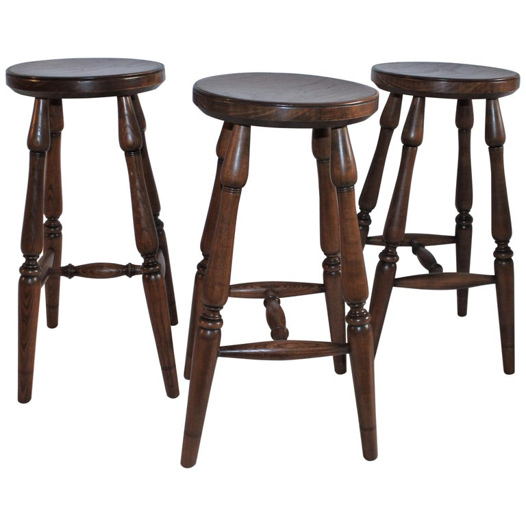 Hickory Furniture Company Bar Stools, 3 For Sale