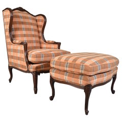 Hickory Louis XV Style Walnut Wingback Chair & Ottoman Ikat Plaid Upholstery