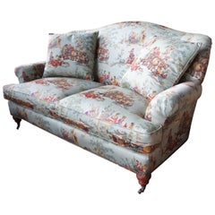 Hickory White Over Stuffed Camel Back Sofa Rolled Arms Loveseat Toile Fabric