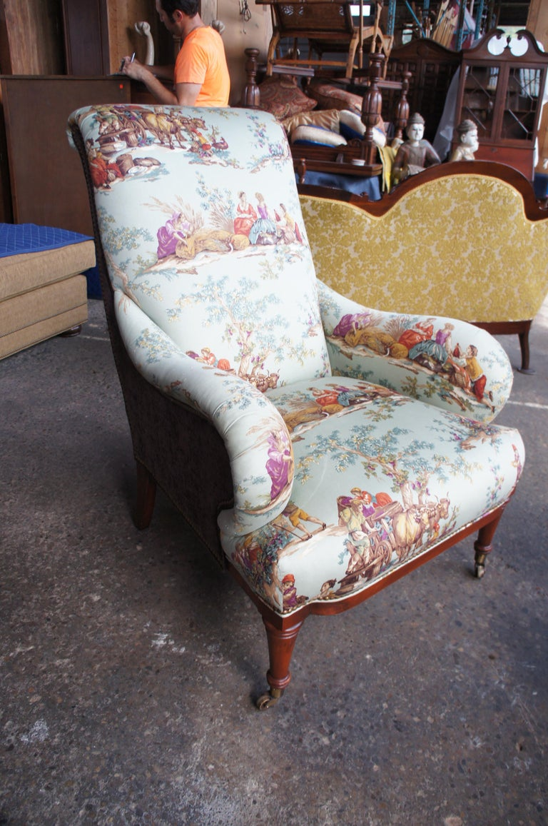 Hickory White Overstuffed Chair Rolled Arms Toile Fabric Corduroy Club Lounge For Sale 6
