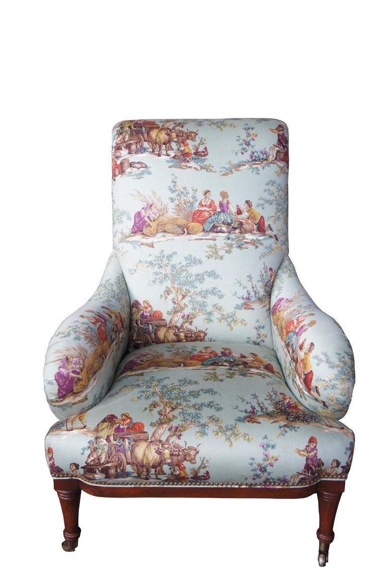 Hickory white overstuffed chair rolled arms toile fabric Corduroy club lounge  Up for consideration is a beautiful Hickory White armchair. A stately accommodation in its traditional styling with rolled arms and cherry turned arrow feet with