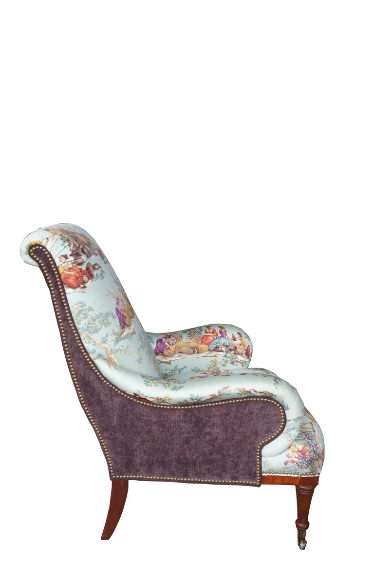 French Provincial Hickory White Overstuffed Chair Rolled Arms Toile Fabric Corduroy Club Lounge For Sale