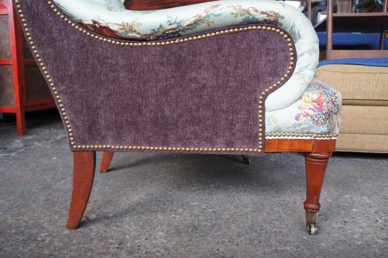 Upholstery Hickory White Overstuffed Chair Rolled Arms Toile Fabric Corduroy Club Lounge For Sale