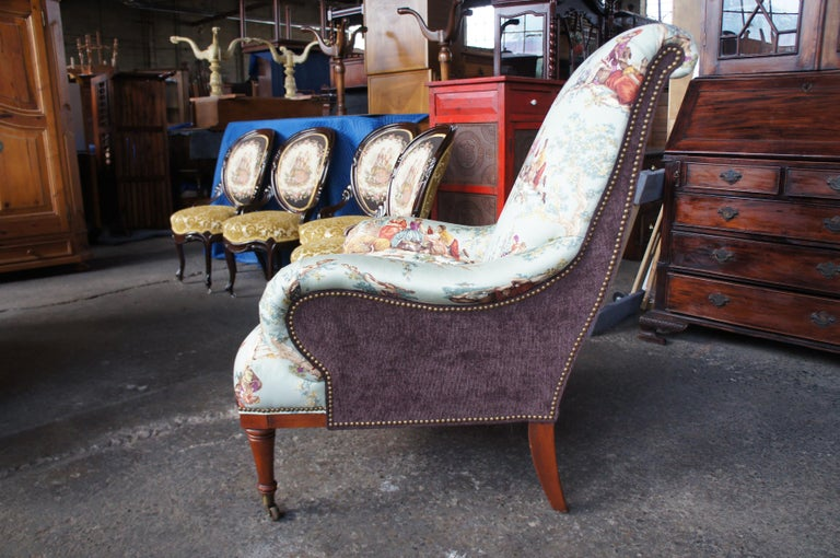 Hickory White Overstuffed Chair Rolled Arms Toile Fabric Corduroy Club Lounge For Sale 3